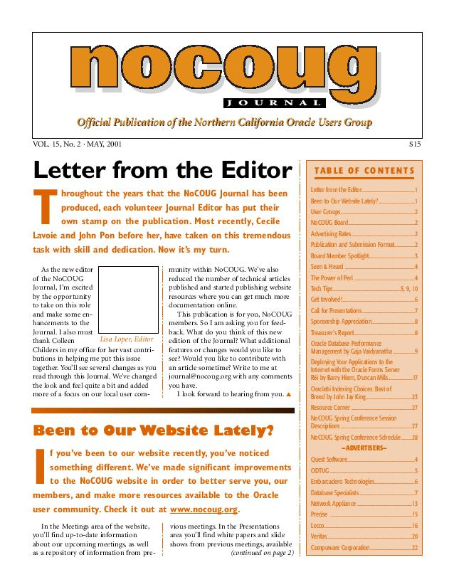 NoCOUG Journal 2001 05