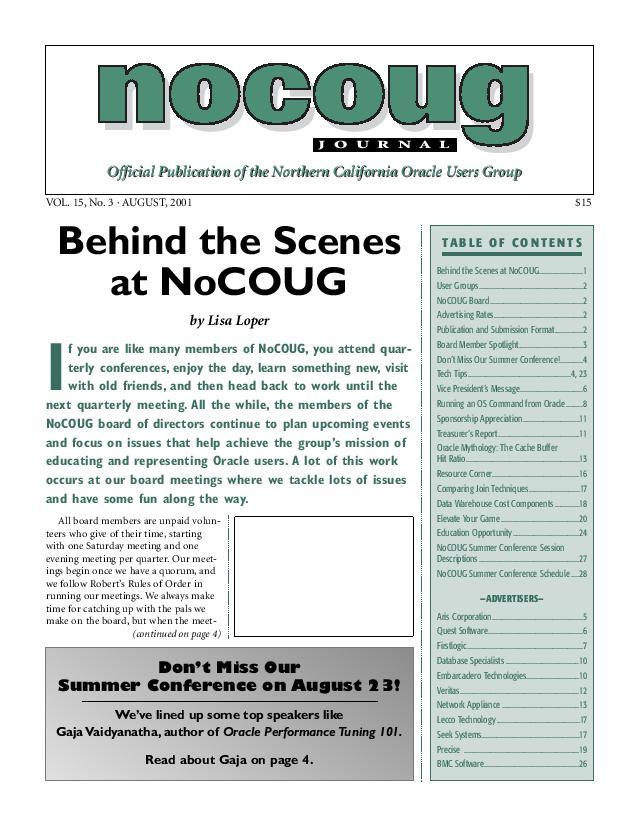 NoCOUG Journal 2001 08