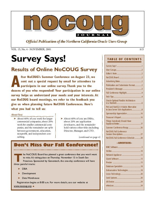 NoCOUG Journal 2001 11