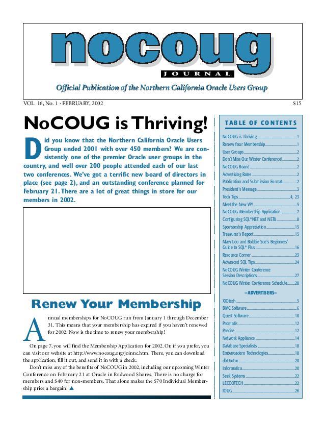 NoCOUG Journal 2002 02