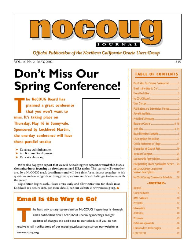 NoCOUG Journal 2002 05