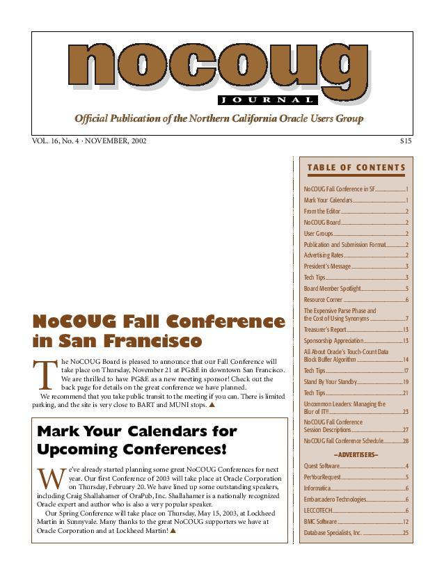 NoCOUG Journal 2002 11