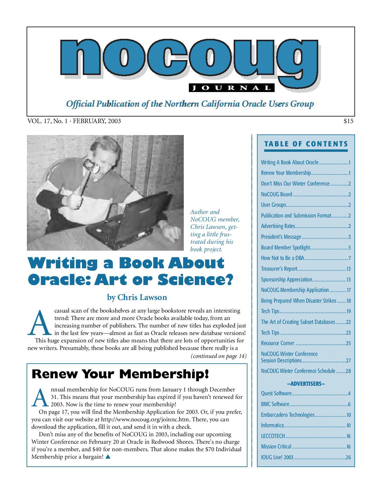 NoCOUG Journal 2003 02
