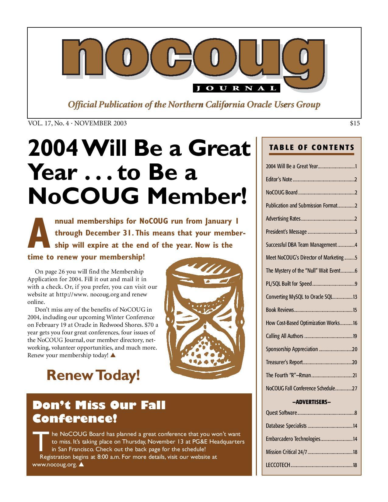 NoCOUG Journal 2003 11